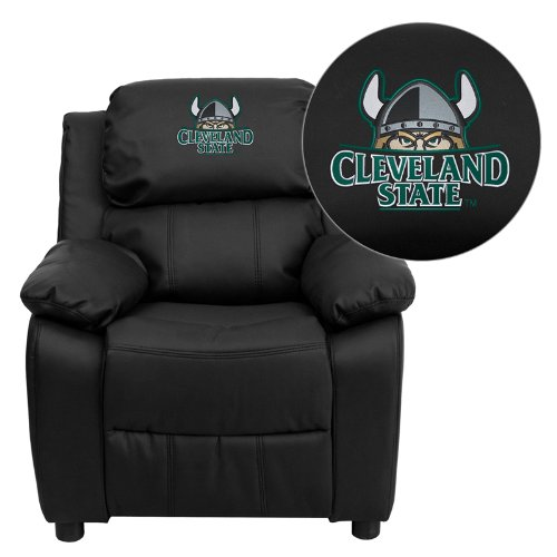 Flash Furniture Cleveland State University Vikings Embroidered Black Leather Kids Recliner with Storage - Nba Kids Recliner