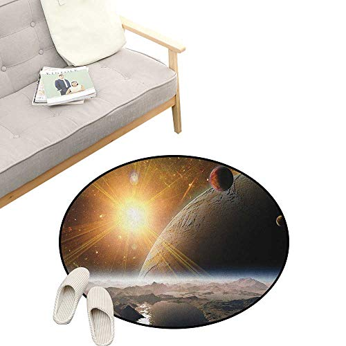 """Outer Space Round Rug ,Moons and Universe View from The Earths Surface Galaxy Theme Art Print, Flannel Microfiber Non-Slip Soft Absorbent 39"""" inch Brown Yellow White"""