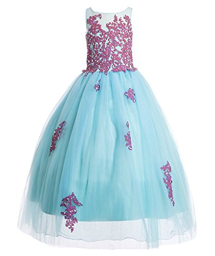 JYDress Flower Girl Dresses Ball Gown Sleeveless Floor Length Applique Dress for $<!--$79.50-->