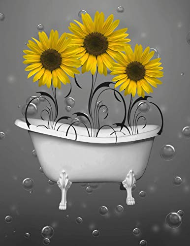 Yellow Gray Sunflowers Bathroom Wall Art, Decorative 8x10 Inch Photo with 11x14 Inch White Mat *Goes Inside Any Standard 11x14 Inch Picture Frame*