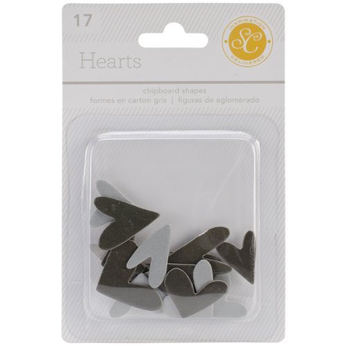 Studio Calico 17-Piece Essentials Heart Chipboard Shapes, Black/Gray ()