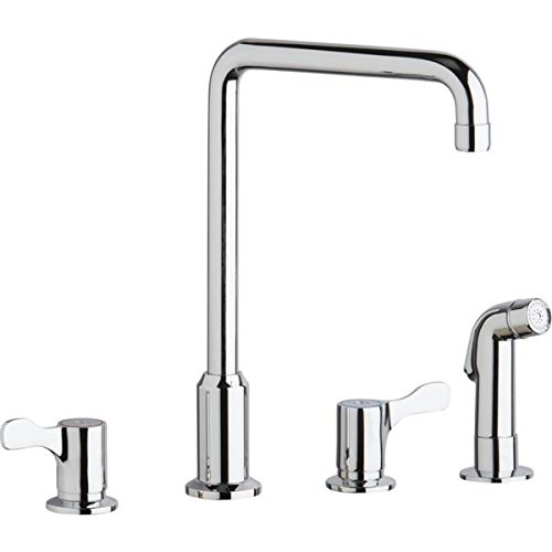 Elkay LKD2433C Concealed Deck Mount Faucet with Arc Spout and Lever Handles with Side Spray, Chrome
