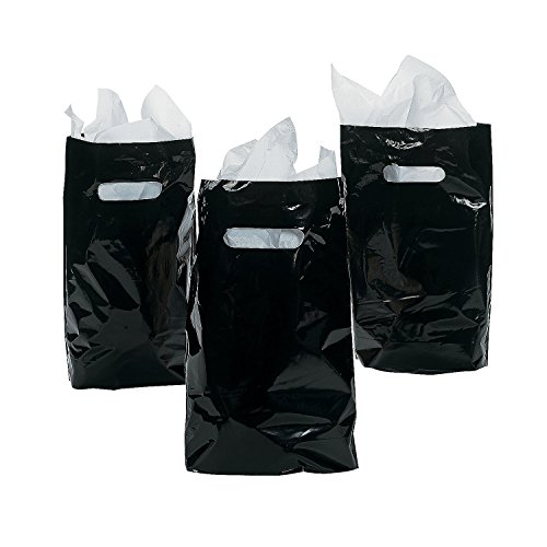 Black Party Goody Treat Bags (50 Pieces) Plastic 8 1/2