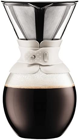 Bodum 11593-913 Pour Over Coffee Maker with Permanent Filter, 51 oz, White
