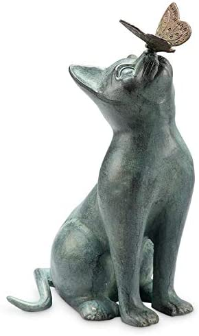 SPI Home Cat and Butterfly Curiosity Garden Statue Green 7.5″ x 10.5″ x 15″