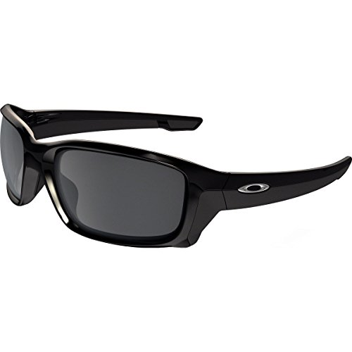 Oakley Men's Straightlink Non-Polarized Iridium Rectangular Sunglasses, Polished Black w/Black Iridium, 61 - Wrap Glasses Oakley Around