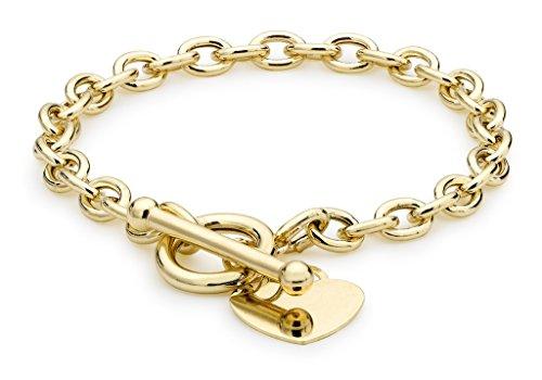 """Ovale en or jaune 9carats Motif cœur gravé Bracelet en T 19cm/7,5"""""""