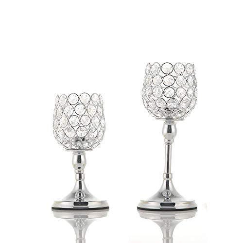 (VINCIGANT Mother's Day Silver Crystal Candle Holders Set of 2 Wedding Thanksgiving, 8 and 10 Inches Tall)