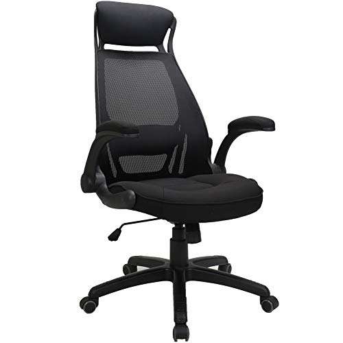 TKEY Ergonomic High Back Mesh Office Chair with Adjustable Armrest Lumbar Support Headrest Recliner Swivel Task Desk Chair Computer Chair Guest Chairs Reception Chairs (Black) ()