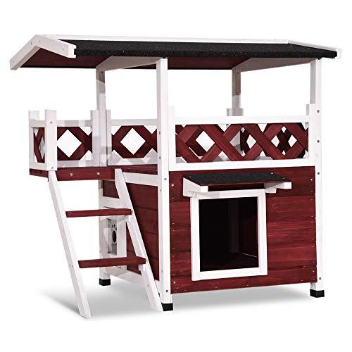 Lovupet Wooden Weatherproof Outdoor/Indoor Cat Kitty Shelter Condo House with Escape Door and Balcony 0507 (Auburn)