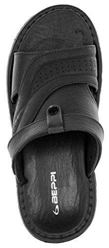 Beppi Badeschlapfen Herren Einlegesohle Clocs Abschlussriemen Weiche Sohle | Slipper Sandalen Sandaletten | Outdoor | Schwarz Schwarz