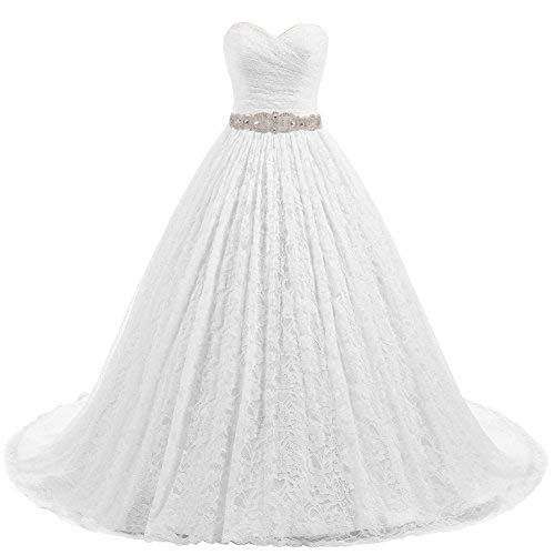 Beautyprom Women's Ball Gown Lace Bridal Wedding Dresses (White-Train, US4)