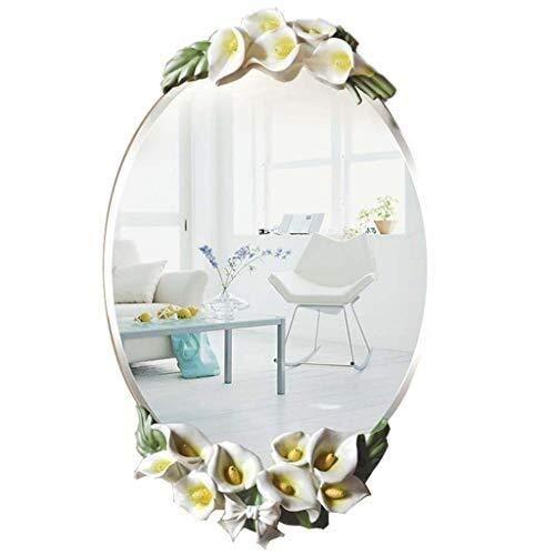 (Bathroom Mirror,Calla Lily Wall Mirror, Creative Oval Make-up Mirror, Decorative Glass Wall -67x40cm)