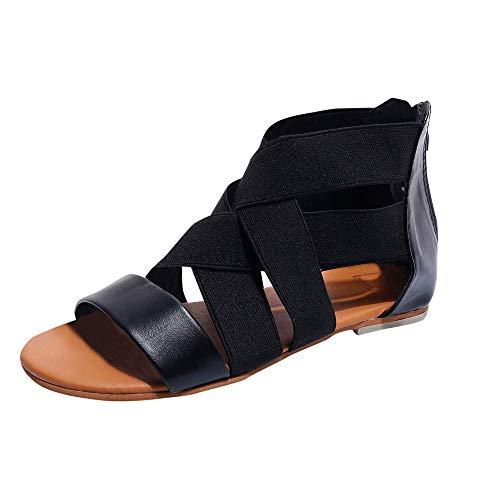 - Women's Elastic Flat Sandals Women Flat Sandals Criss-Cross Open Toe Wide Elastic Strap Fashion Summer Shoes