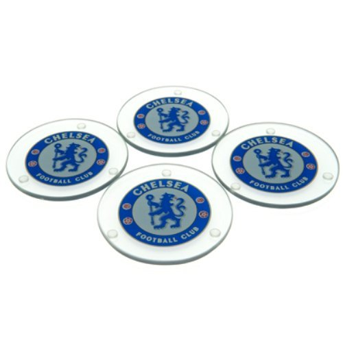 CHELSEA FC Official Glass Coasters RD Blue Club Crest - Set of 4 by Chelsea F.C.