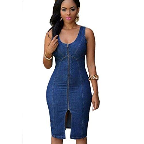 Perman Women Causal Cowboys Dresses Denim Zipper Front Slim Midi Jean Dress - Denim Lace Trim Skirt Up
