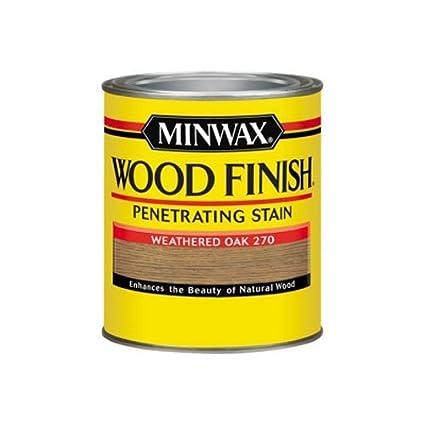 Minwax 700474444 Wood Finish Penetrating Stain Quart Weathered Oak