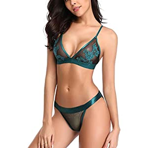 marysgift Lace Embroidery Bra Set Comfortable Bra French Knickers Lingerie Sets Underwear for Women Plus Size UK 8 10 12 14 16 18 20 22