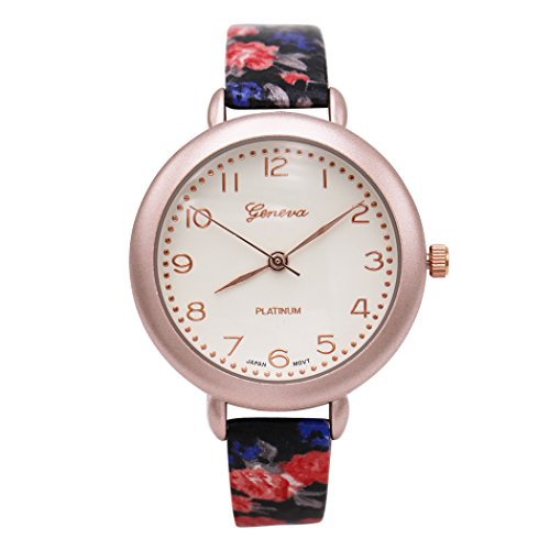 Rosemarie Collections Women's Round Face Flower Band Geneva Fashion Watch (Black and Rose ()