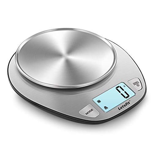 Letsfit Digital Kitchen Scale, Multifunction Food Scale and LCD Screen Display, Stainless Steel, Capacity Range from 0.1oz (1g) to 11lbs (5000g), Batteries Included