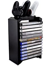 Hyperia PS4 Games Charger Storage Tower, Playstation 4 Controller Dual Charging Dock Station & Multifunctional Vertical Stand for Dualshock 4