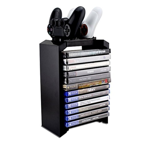 Numskull - Tower & Dual Charger for Dualshock 4 Controller / Gamepad / Joystick - Stores 10 Games - PlayStation 4