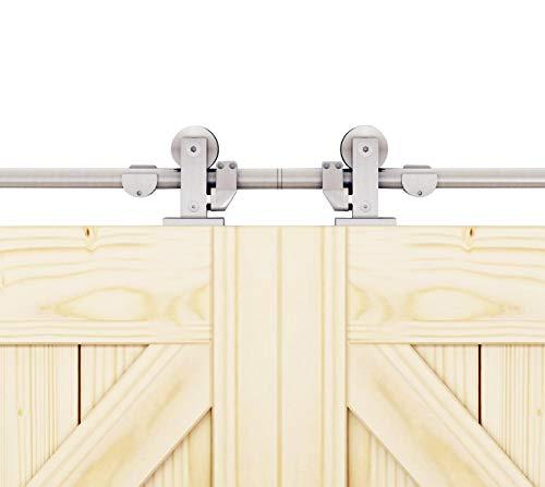 - DIYHD 12FT Stainless Steel Top Mount Double Sliding Barn Closet Cabinet Door Track Hardware Kit (12ft-Double Door kit)