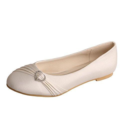 Wedopus MW925 Women's Round Toe Pleated Strap Flat Rhinestone Wedding Bridal Shoes Ivory Size 5 by Wedopus