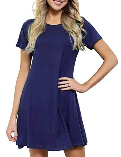 JOYMODE Women's Crew Neck Dresses Short Sleeve Casual Loose T-Shirt Dress Blue