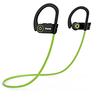 Bluetooth Wireless Headphones, Fnova Sports Waterproof Sweatproof IPX7 Earphones HD Stereo V4.1 Earbuds for Gym Running Workout, 8 Hour Battery Life Noise Canceling Headsets with Built-in Mic, Green