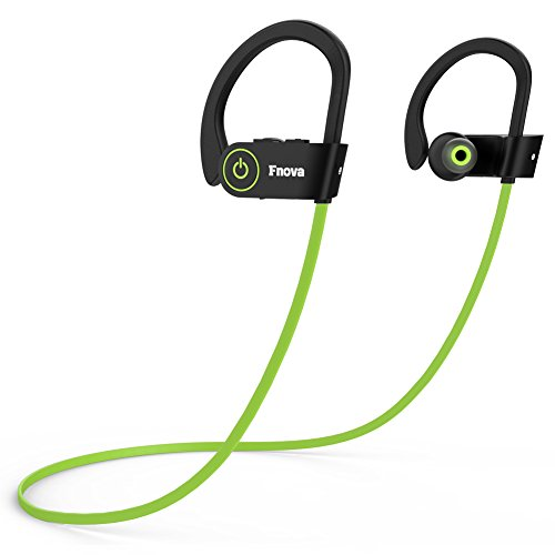 Bluetooth Wireless Headphones, Fnova Sports Waterproof Sweatproof IPX7 Earphones HD Stereo V4.1 Earbuds for Gym Running Workout, 8 Hour Battery Life Noise Canceling Headsets with Built-in Mic, Green (Earbuds Universal High Fidelity)