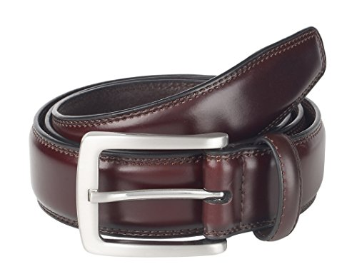 Sportoli Mens Genuine Leather Classic Stitched Casual Belt - Wine (Size 34) (Belt Wine)