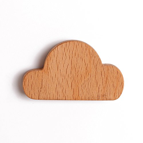 Frjjthchy 2 Pcs Cloud Shaped Key Hook Wooden Magnetic Wall Key Hanger Creative Wall Keychains for Home Office (Yellow)