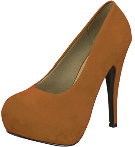 Voor Altijd Link Women-89 Suède Teenpantoffice Pumps Tan