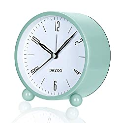 DAYOO Alarm Clock, 4 Inch Alarm Clock Non Ticking with Snooze for Heavy Sleepers, Battery Operated and Light Function, Super Silent Alarm Clock with Simple Design for Desk/Bedroom (Green)
