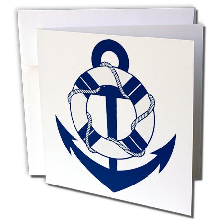 3dRose Anne Marie Baugh - Sailing - Blue and White Sailing Anchor With Life Saver - 1 Greeting Card with envelope ()