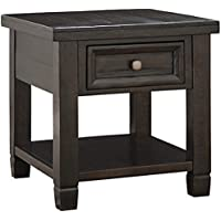 Ashley Furniture Signature Design - Townser Rectangular End Table - Traditional Side Table - Dark Brown