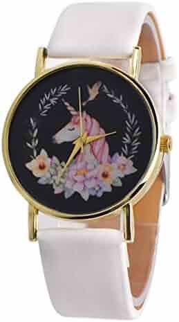 Braceus Cartoon Unicorn Analog Display Belt Wrist Watch Children Kids Gifts
