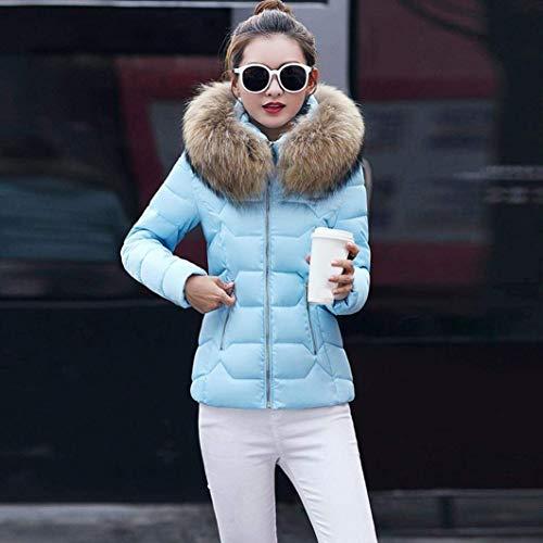 coloré Taille Femme Noir Pour Ciel Fourrure Bleu Épaisse Xx Fermeture D'hiver À Fausse large Oudan Glissière Avec En Manteau Capuche nw6Zp0Z8qO