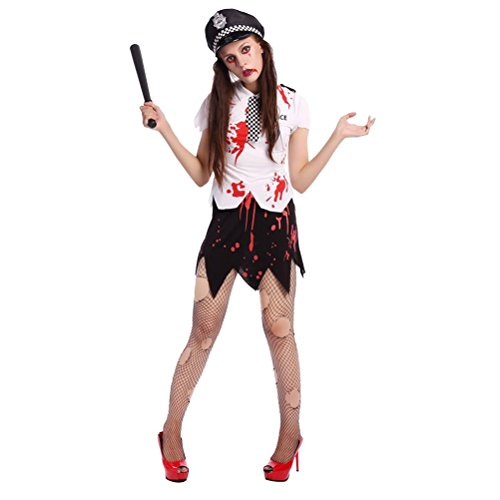 (Halloween Zombie Police Costume Jacket Hat Cosplay Set Pretend Play Parties as pic)