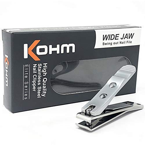 Kohm WHS-448L Heavy Duty, Straight Edge Nail Clipper, Large Wide Jaw Toenail Clippers for Thick Toenails, Fungal Nails, Nail Clippers for Men, Seniors, Adults by Kohm