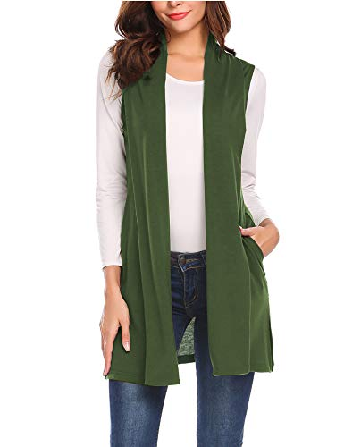 Beyove Womens Lightweight Sleeveless Open Front Cardigan Plus Size Sweater Vest with Pockets Olive Green S