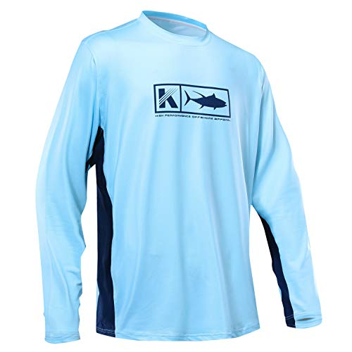 Men's Performance Vented Fishing Shirt Long Sleeve Shirt Mesh Side Vents UPF 50 Dye Sublimation Print Light Blue ()