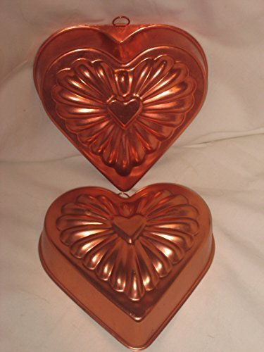 Set Of 2 - Vintage Coppertone Heart Jell-O Mold Cake Pan - 7x7x1.5 Inch
