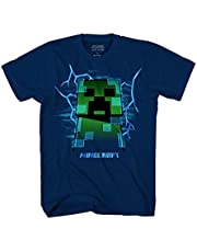 Mojang Minecraft Charged Creeper Graphic Polyester Dark Grey T-Shirt