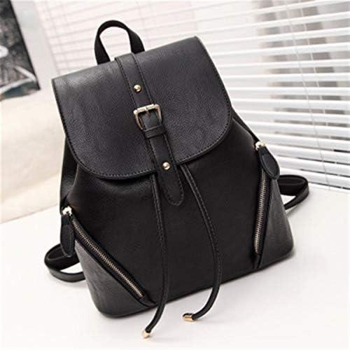 バックパックの女性の旅行バッグ韓国のファッションPUレザーレインコートの外国人の貿易リュックハンドバッグ 実用的 (色 : Black)