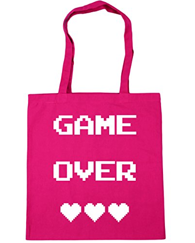 HippoWarehouse Game Over Einkaufstasche Fitnessstudio Strandtasche 42cm x38cm, 10 liter - Fuchsia, One size