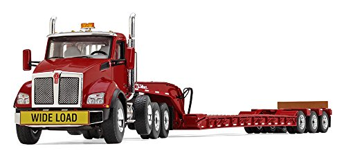 Lowboy Trailer - First Gear 1/50 scale Diecast Collectible Red/Red Kenworth T880 with Tri-Axle Lowboy Trailer (50-3392)