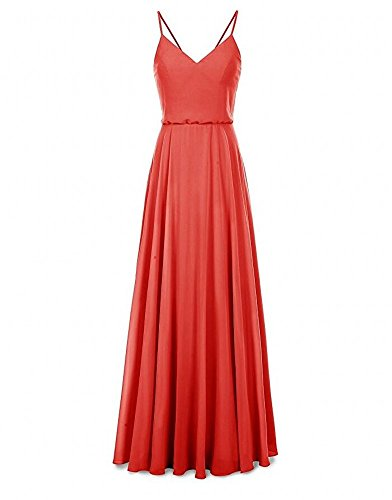 V Women Chiffon Red Dress Bridesmaid Neck Botong Evening Pink Long Party Gown qRpgFX
