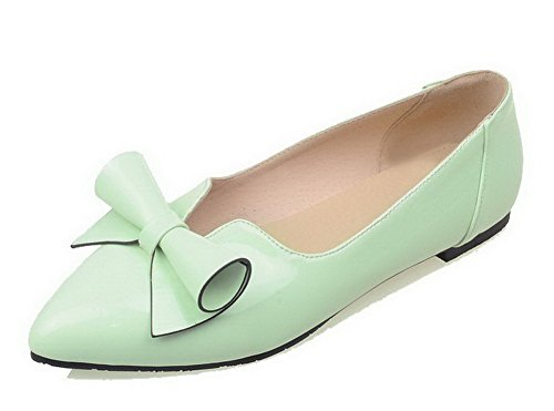 Donna Ballet Flats di Punta Maiale Tacco Basso Chiusa VogueZone009 Verde Pelle Puro SqTOH